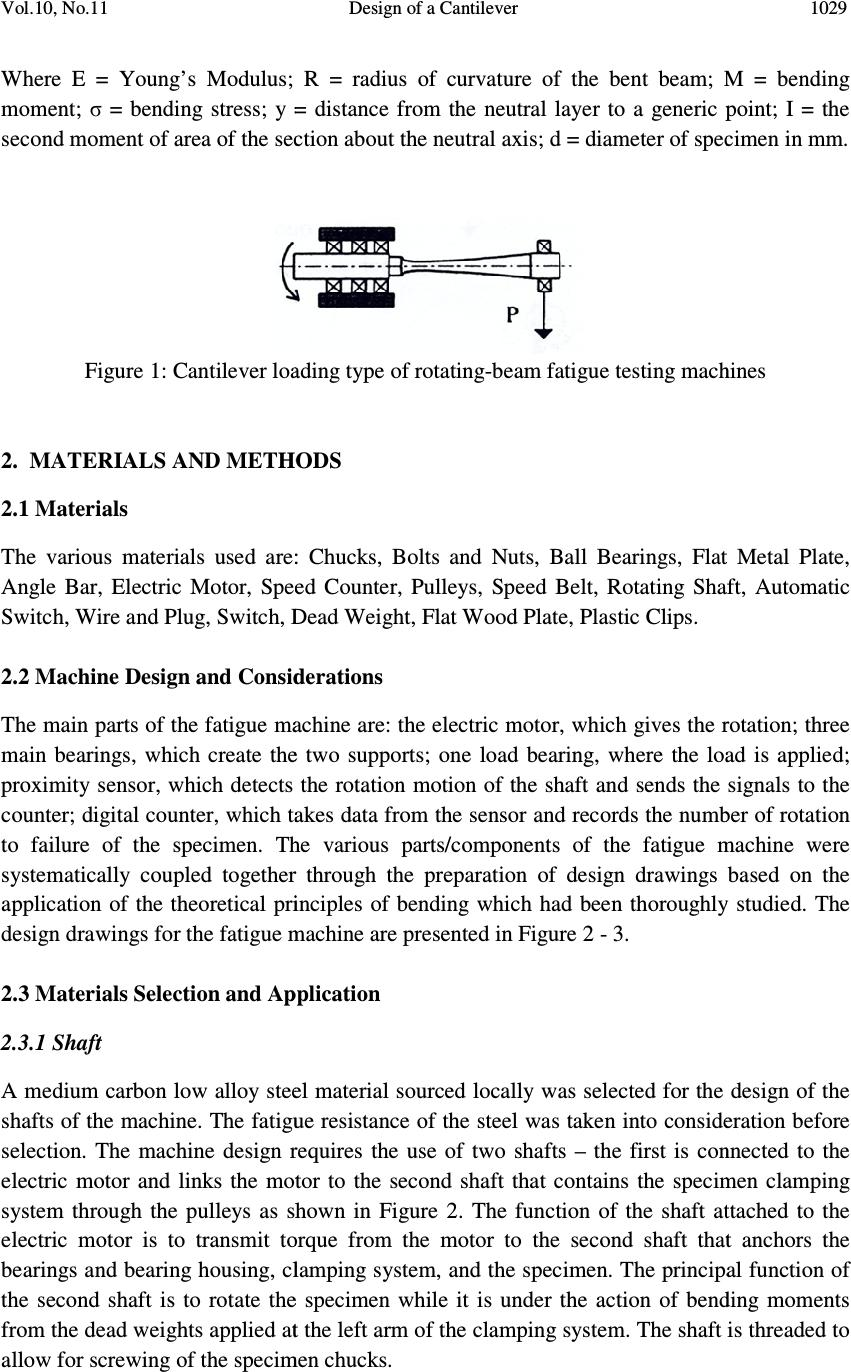 Design of a Cantilever - Type Rotating Bending Fatigue ...