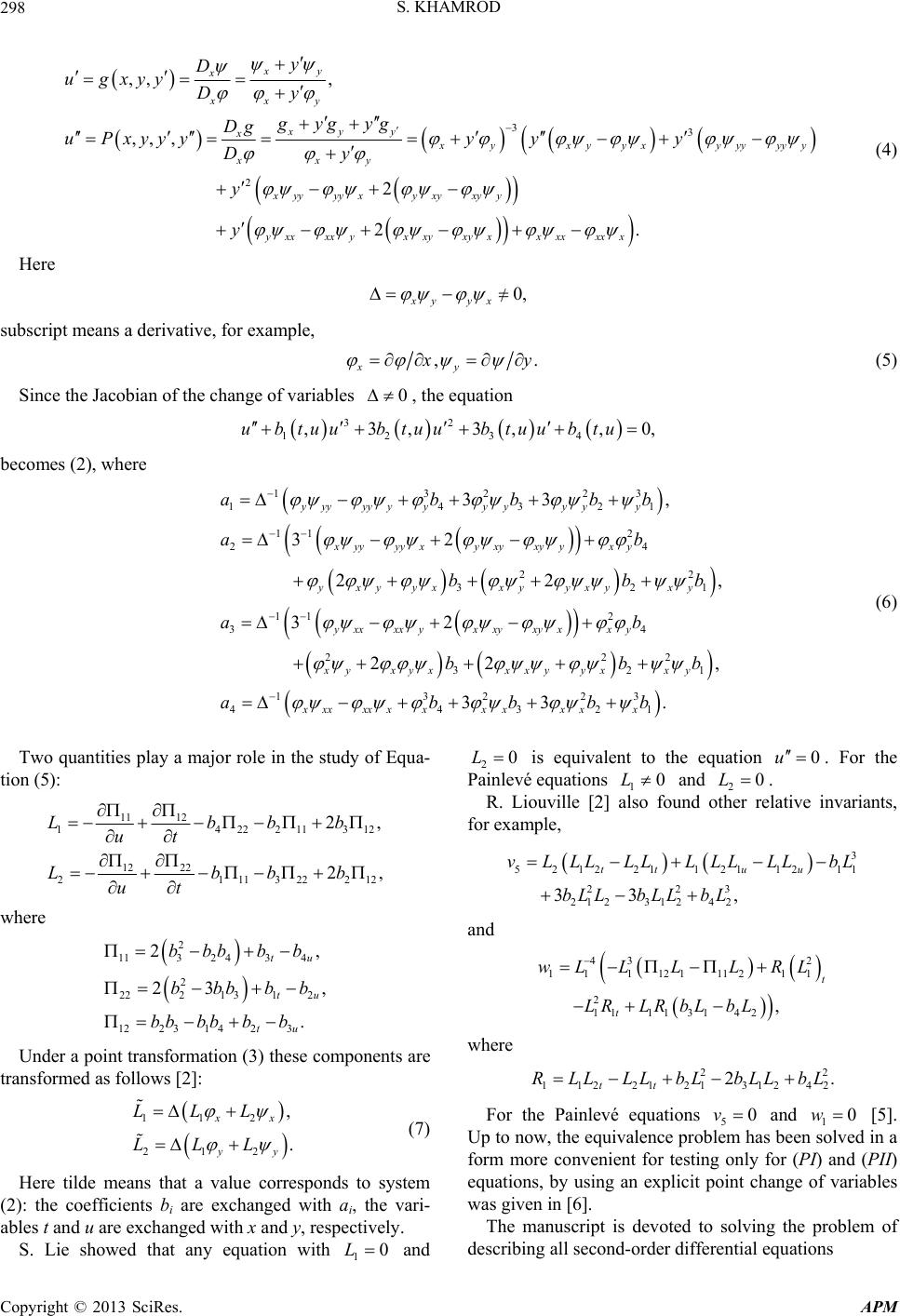 Equivalence Problem Of The Painleve Equations